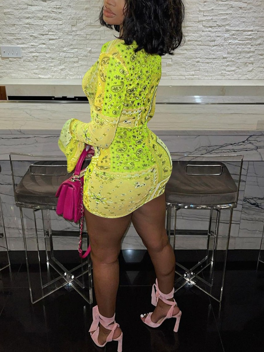 Lovely Street Flared Ruched Drawstring Yellow Mini Dress