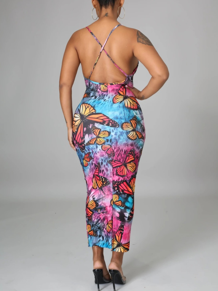Lovely Casual Butterfly Print Backless Cross Strap Multicolor Ankle Length Dress