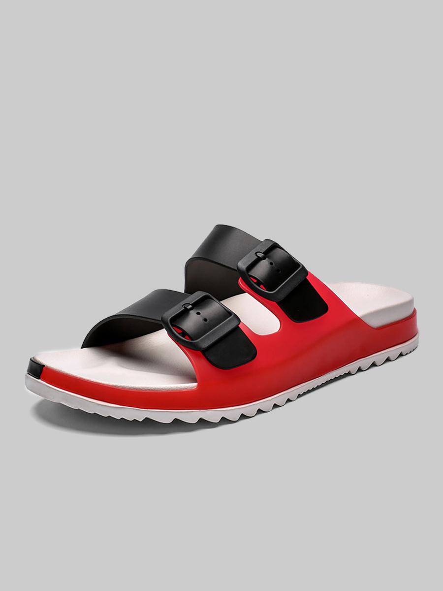 Lovely Men Casual Bucke Design Red Slippers
