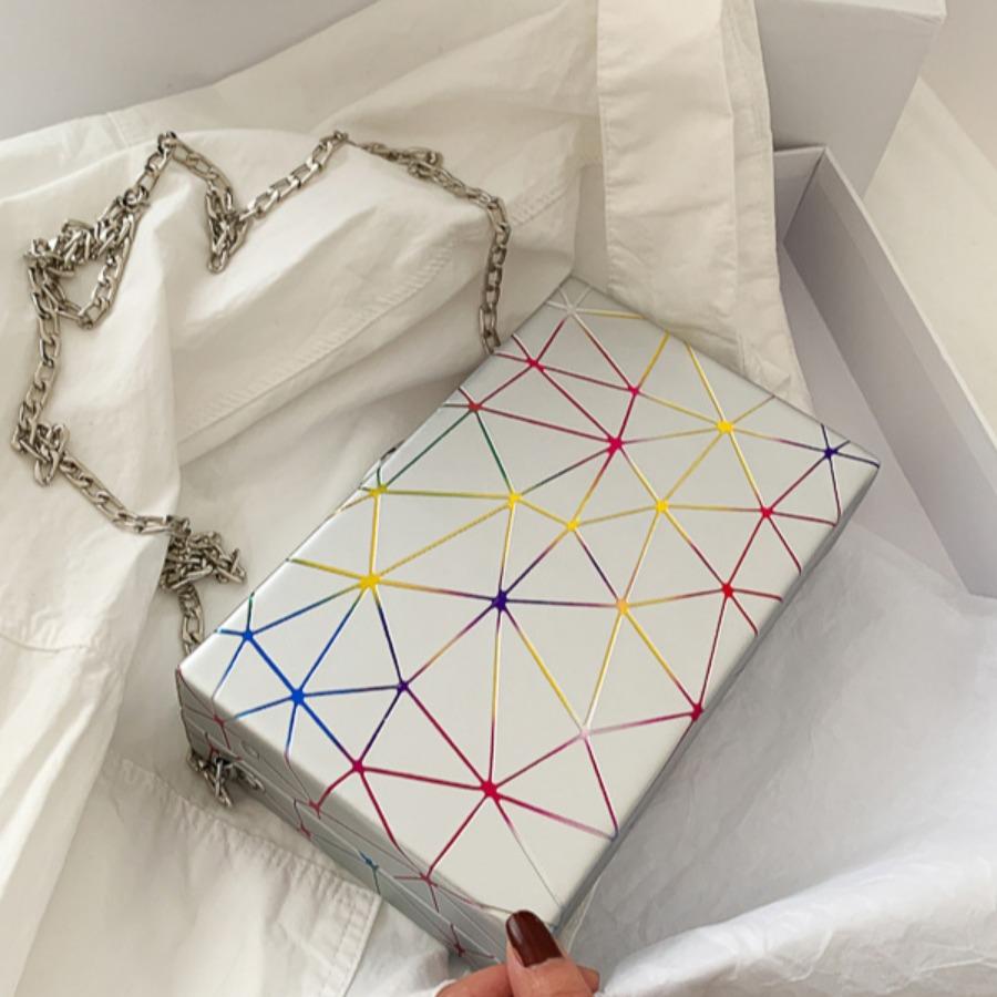 Lovely Casual Geometric Print Silver Crossbody Bag