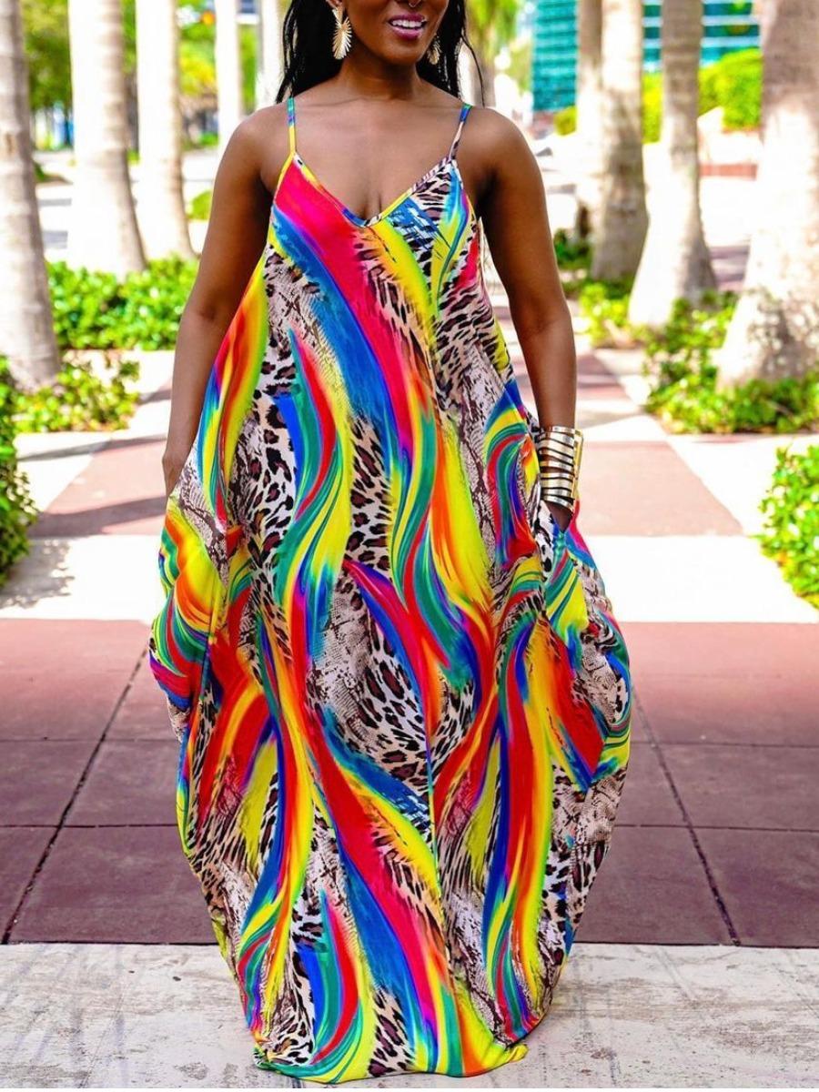 LW BASICS Plus Size Boho Print Patchwork Multicolor Floor Length Dress