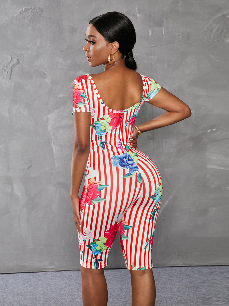 Lovely Sweet Floral Print Striped Red One-piece Romper