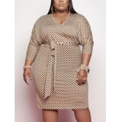 Lovely Casual Dot Print Bandage Design Apricot Knee Length Plus Size Dress