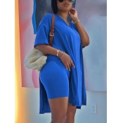 Lovely Casual Dropped Shoulder Split Blue Two Piece Shorts Set