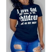 Lovely Casual O Neck Letter Print Dark Blue Plus Size T-shirt