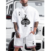 Lovely Men Sporty Skull Head Print Striped White Two Piece Shorts Set