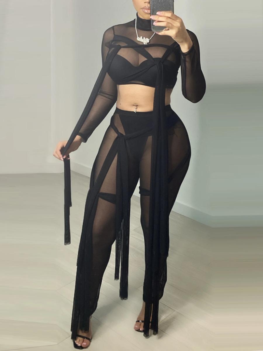 LW SXY Street See-through Bandage Design Black Two Piece Pants Set