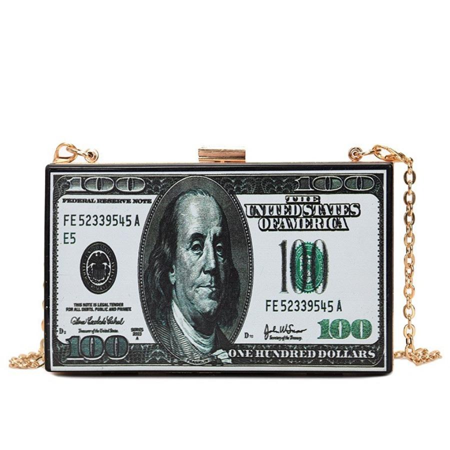 Lovely Street Money Print Chain Strap Black Crossbody Bag