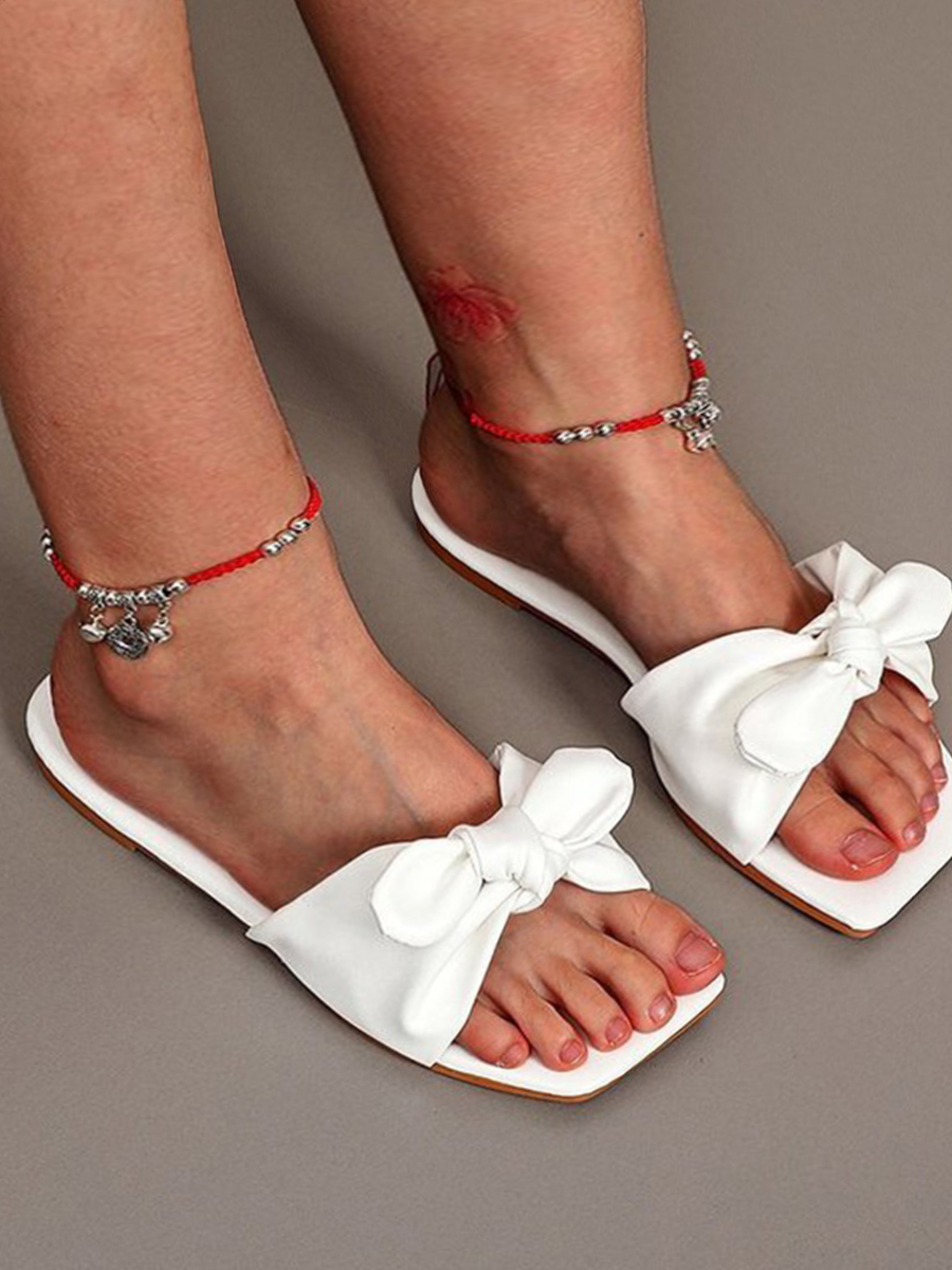 Lovely Casual Bow-tie Decoration White Slippers