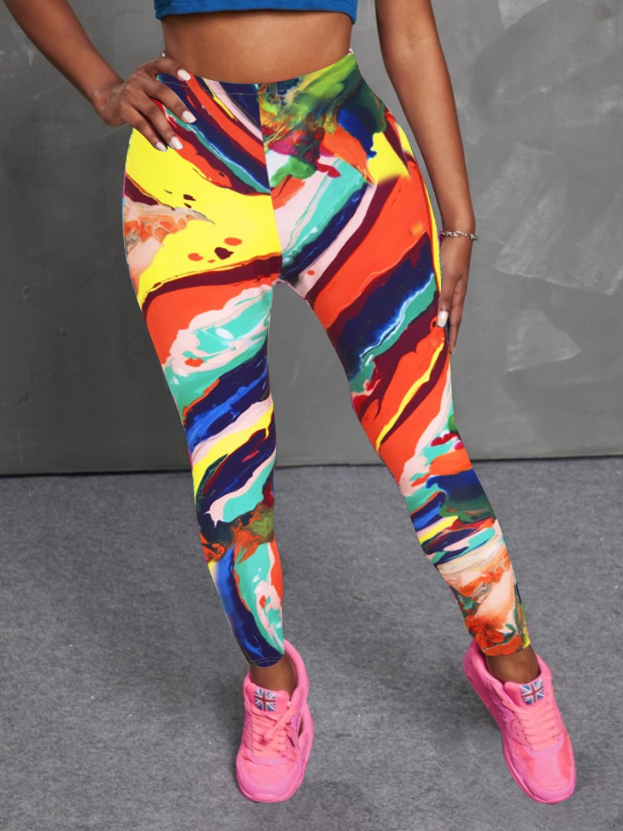 Lovely Casual Print Patchwork Multicolor Leggings