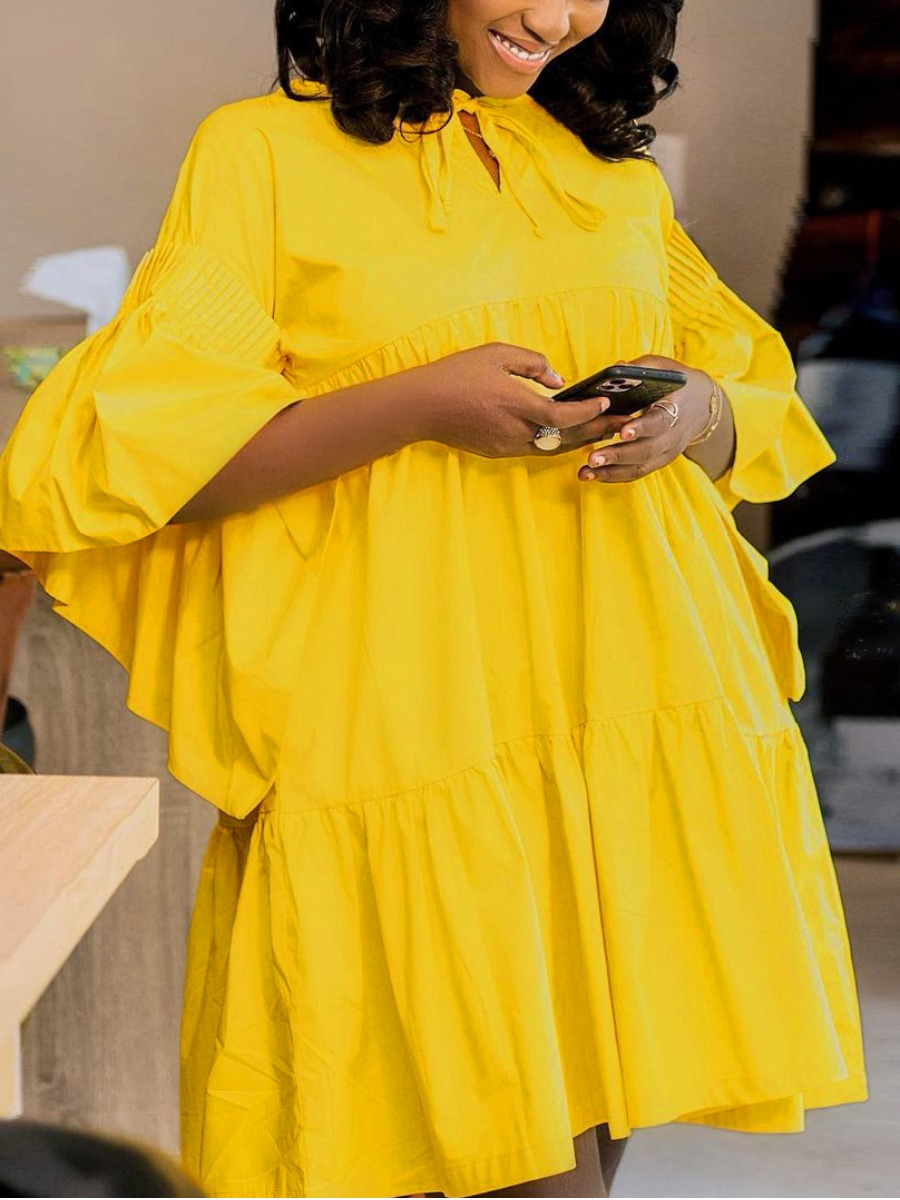 Lovely Plus Size Casual Flared Flounce Design Yellow Mini Dress