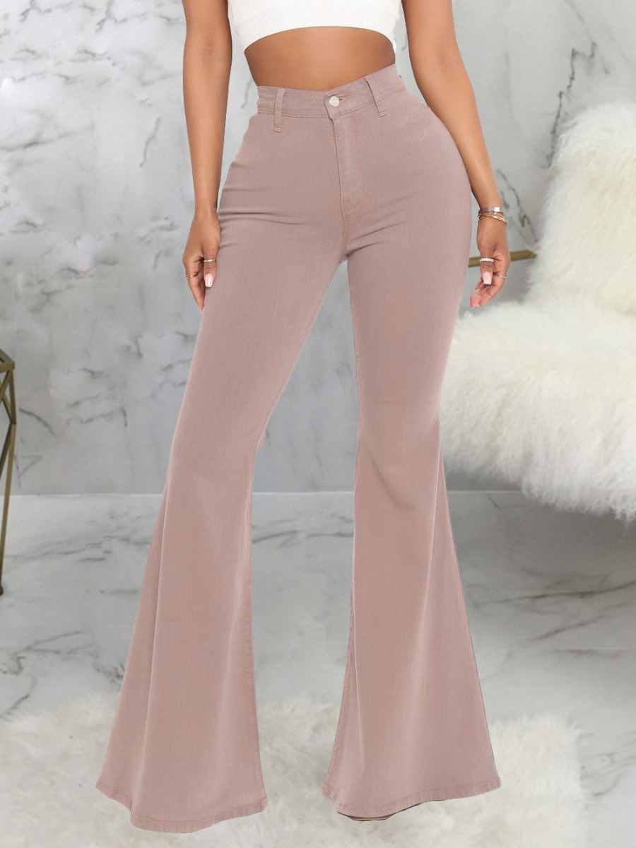 LW Casual High-waisted Flared Light Camel Jeans