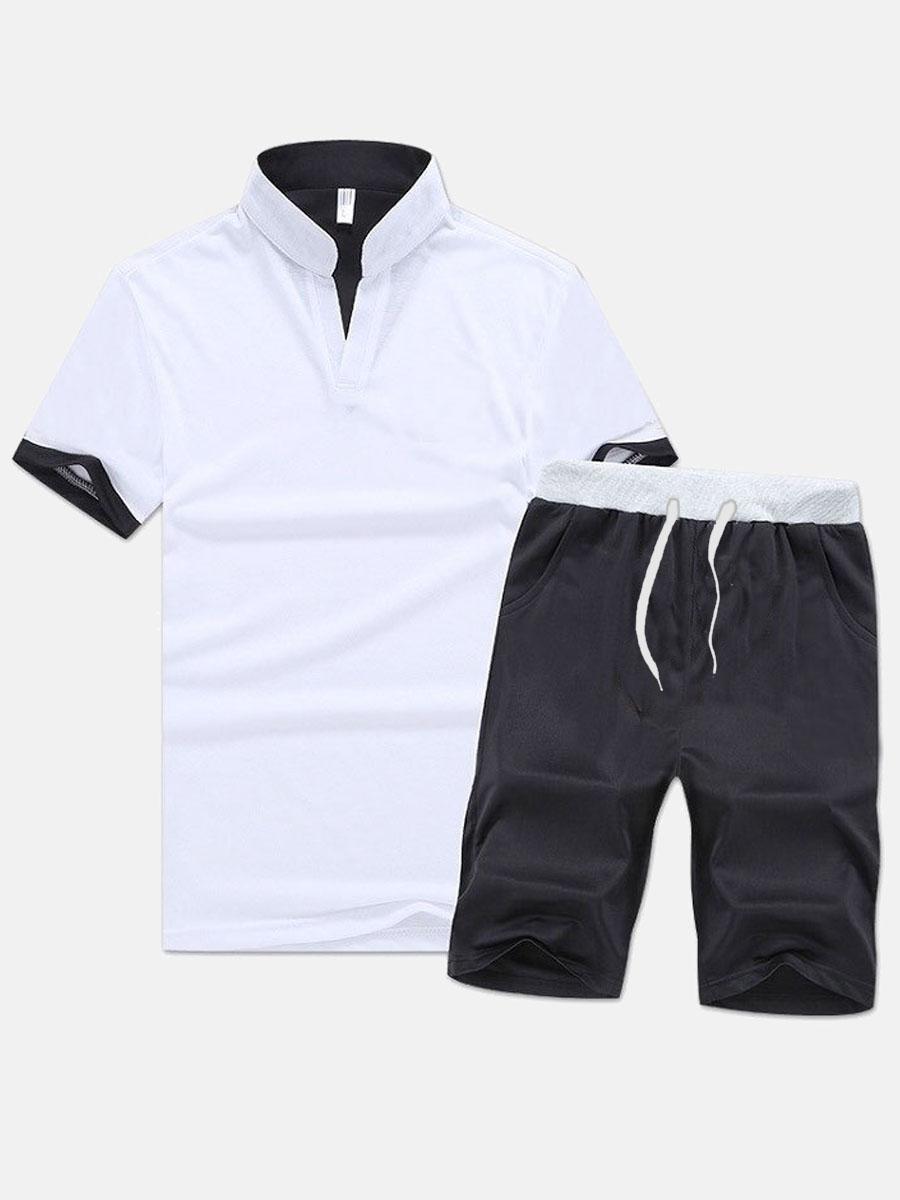 Lovelywholesale coupon: LW Men Sporty Mandarin Collar Drawstring White Two Piece Shorts Set