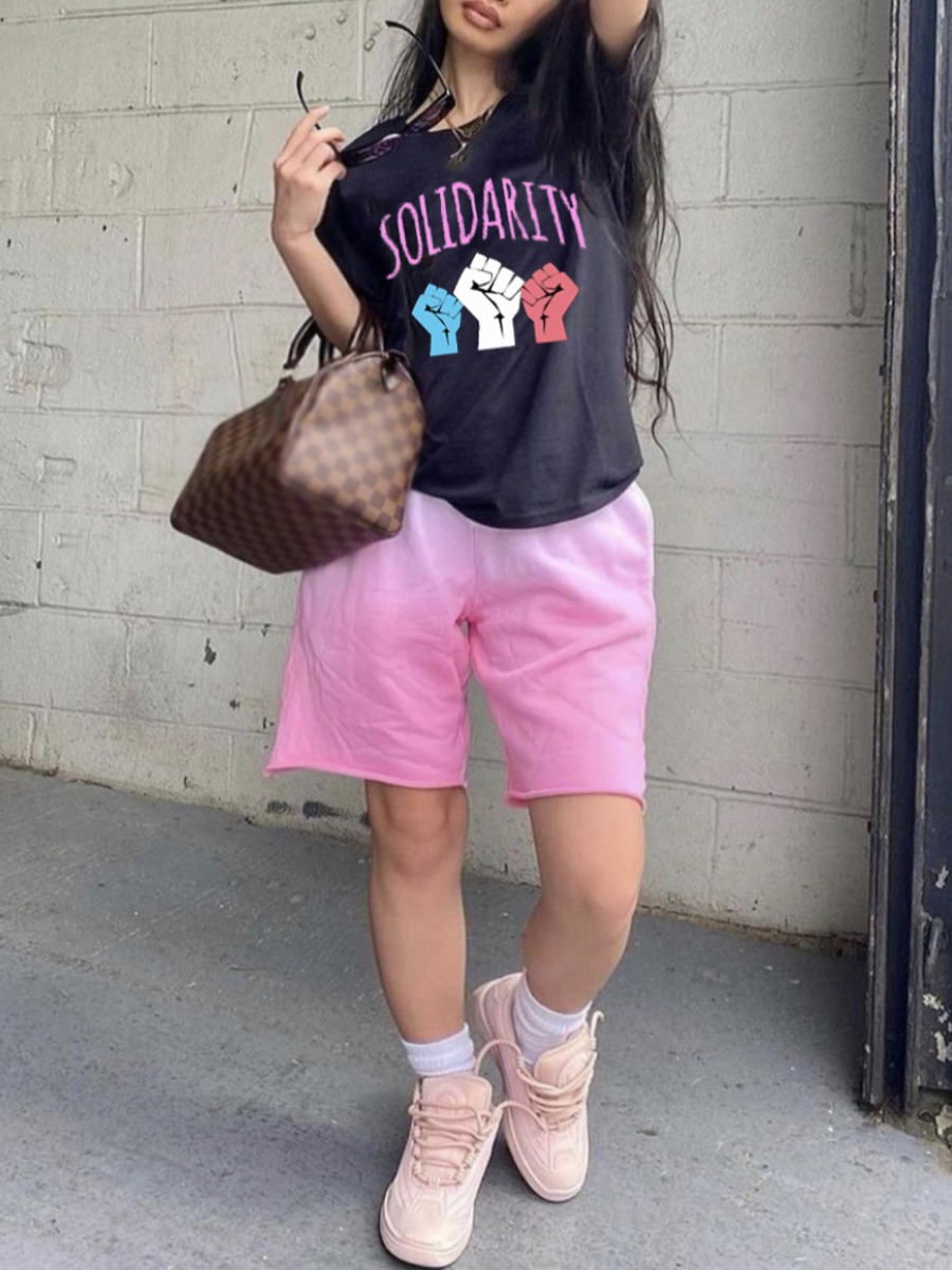 Lovely Street Letter Print Raw Edge Pink Two Piece Shorts Set