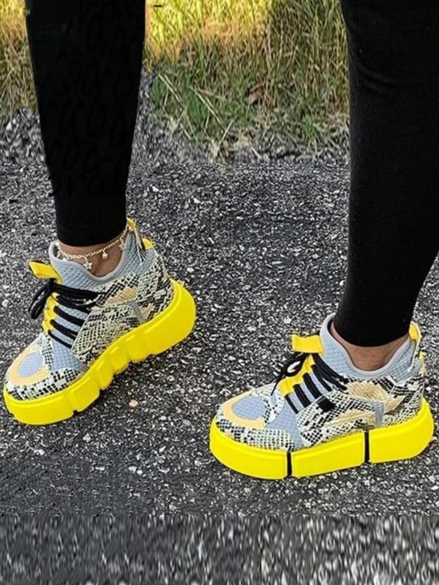 LW Sporty Animal Print Yellow Sneakers