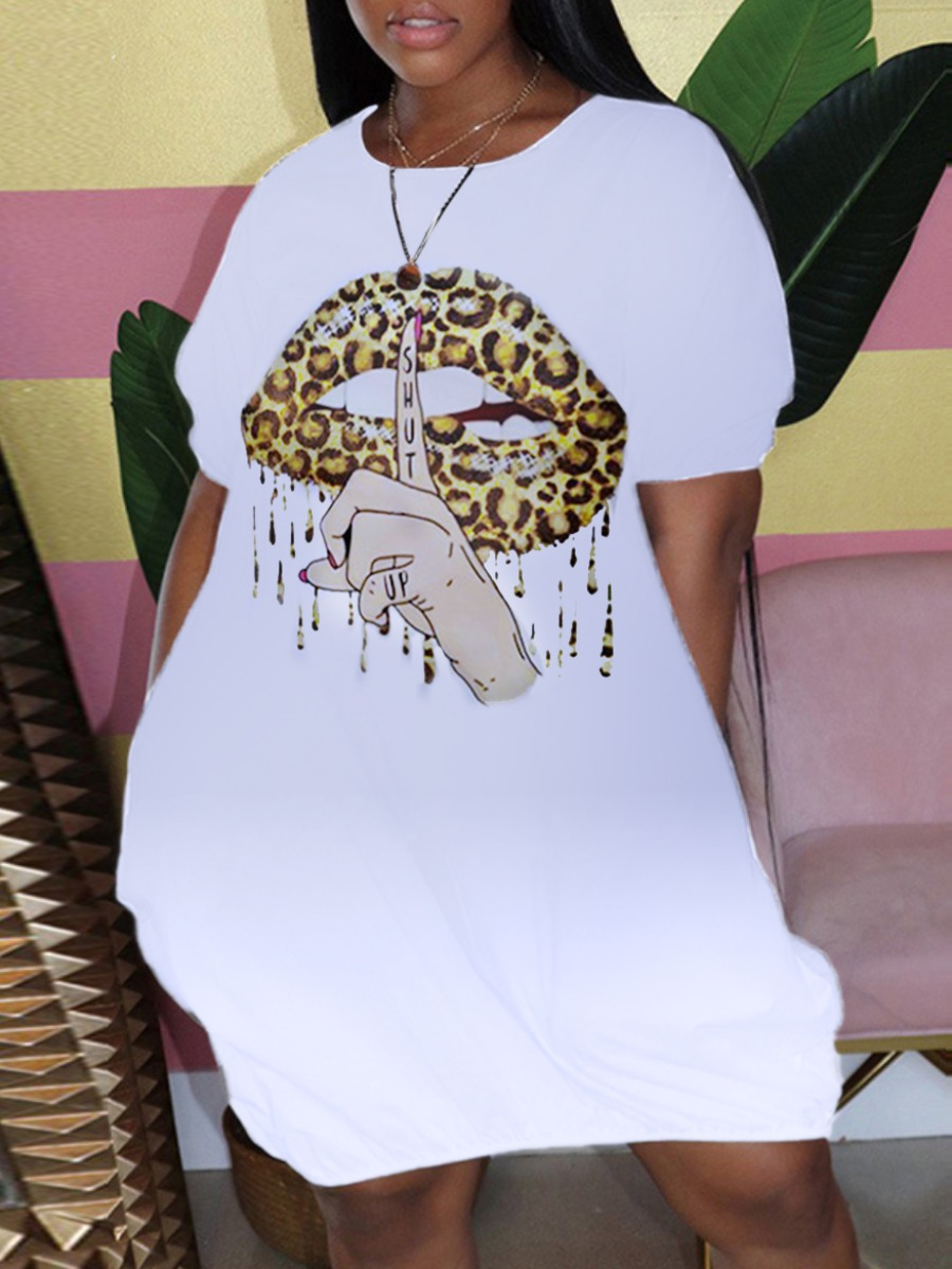 Lovely Casual O Neck Lip Print White Mini Plus Size Dress