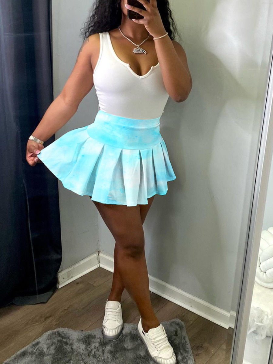 Lovely Sweet Tie-dye Flounce Design Canal Blue Mini A Line Skirt