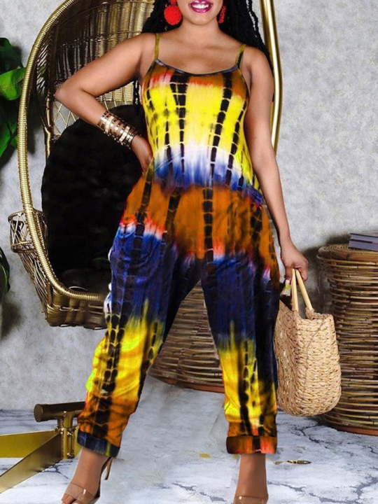 Lovely Plus Size Casual Tie-dye Loose Yellow One-piece Jumpsuit
