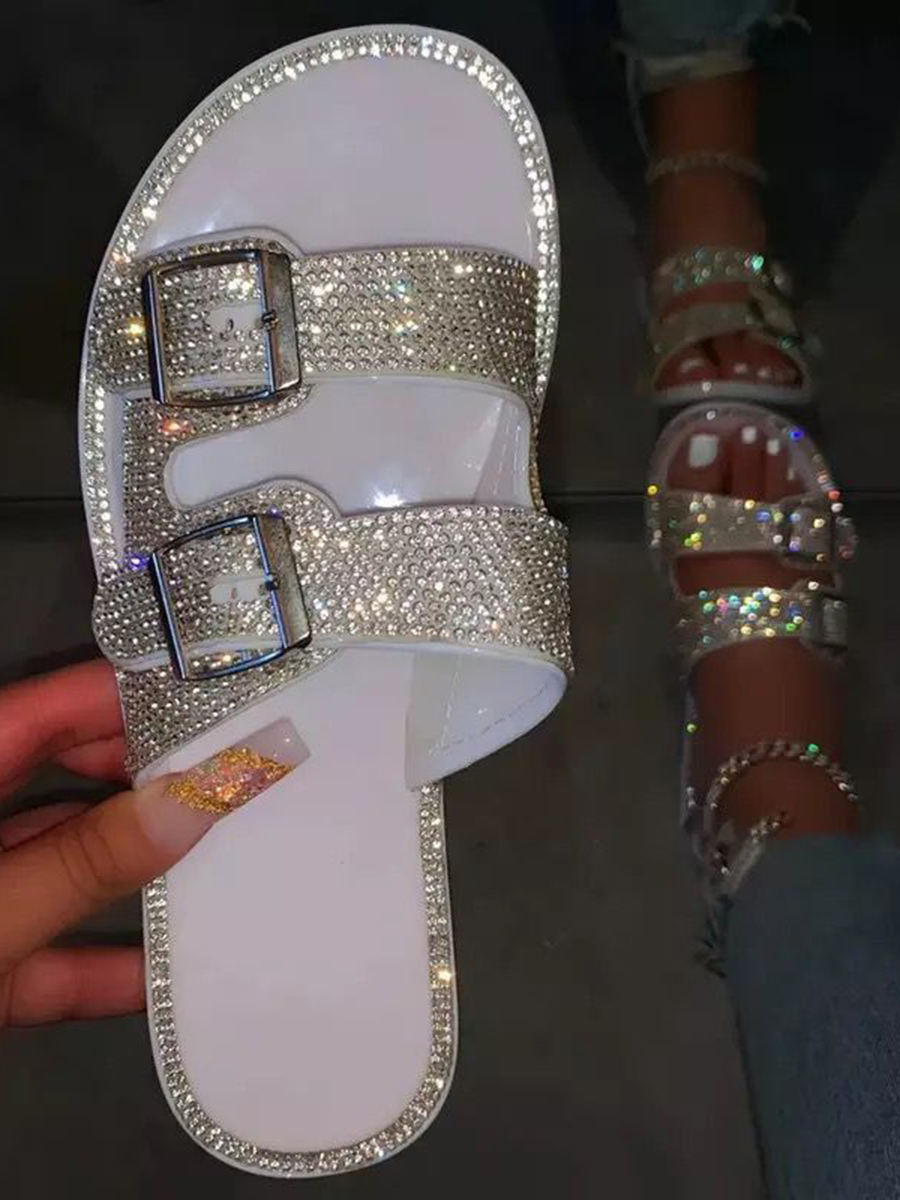 LW Casual Buckle Design White Sandals