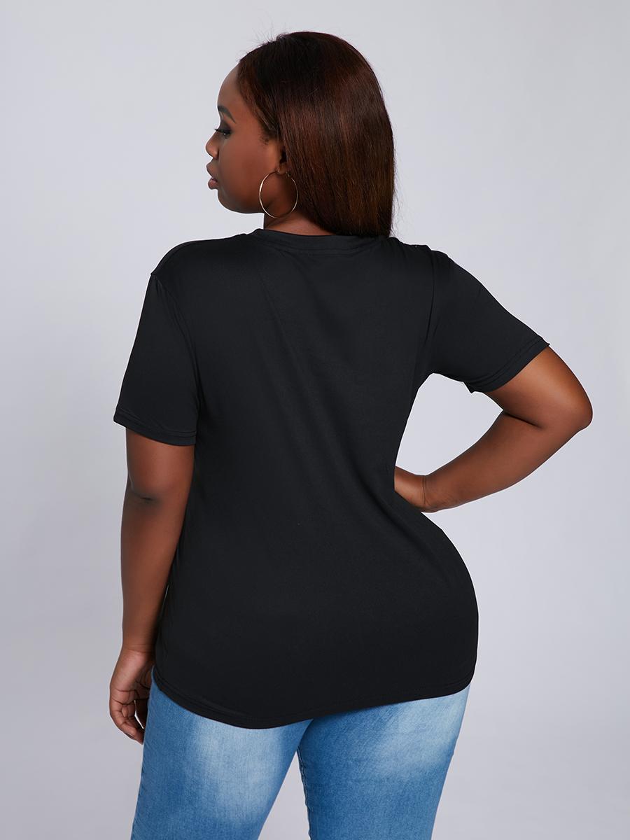 LW COTTON Plus Size Street O Neck Letter Print Black T-shirt