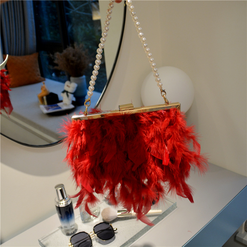 Lovely Street Feather Decoration Wine Red Clutch Bag