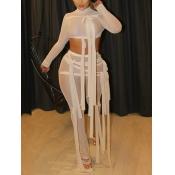Lovely Street See-through Bandage Design Khaki Two Piece Pants Set