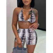 Lovely Casual Animal Print Backless Grey Two Piece Shorts Set