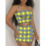 Lovely Casual Plaid Print Patchwork Lemon Yellow Two Piece Skirt Set