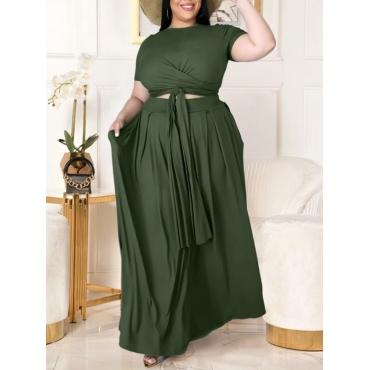 LW BASICS Plus Size Boho Bandage Fold Design Green Two-piece Skirt Set