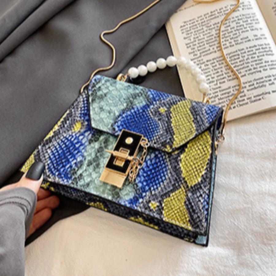 LW Casual Pearl Decoration Blue Crossbody Bag