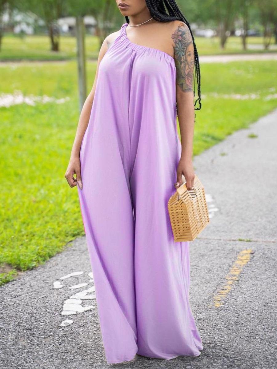 LW Street One Shoulder Loose Purple One-piece Jumpsuit