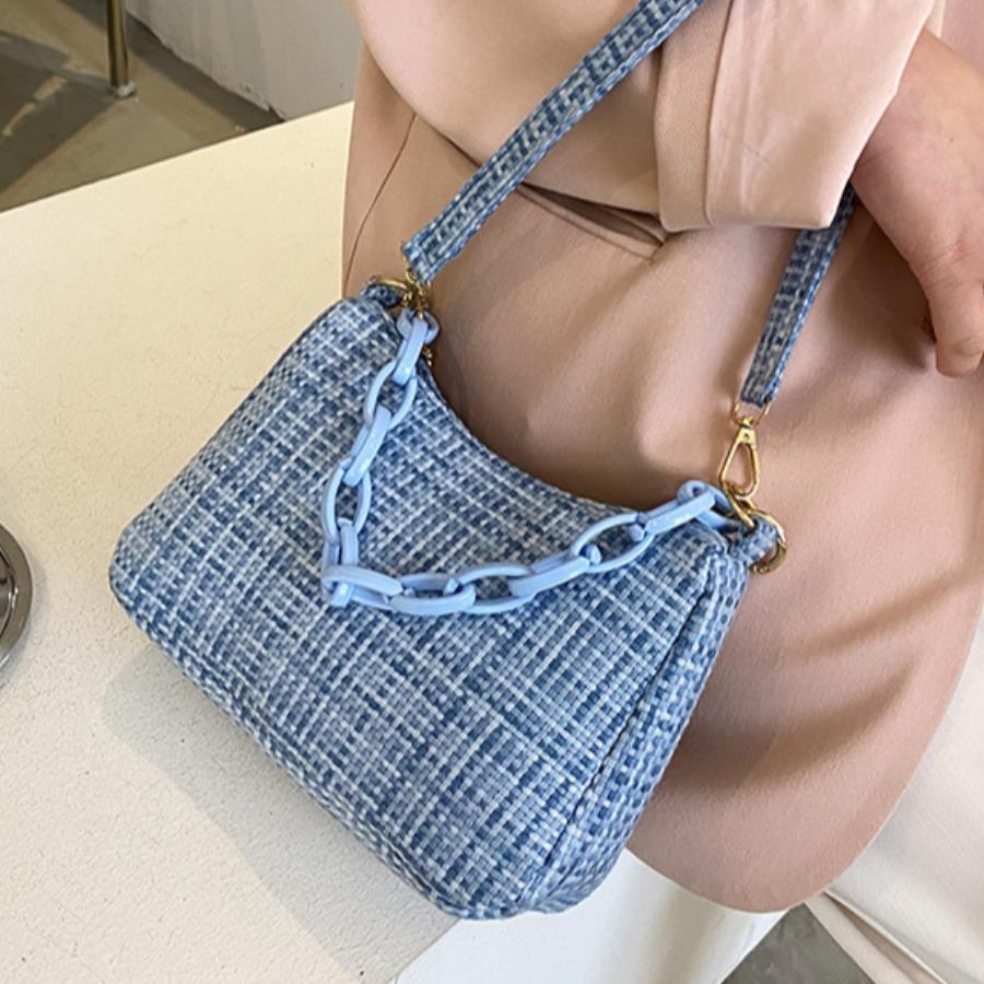 LW Casual Chain Strap Blue Shoulder Bag