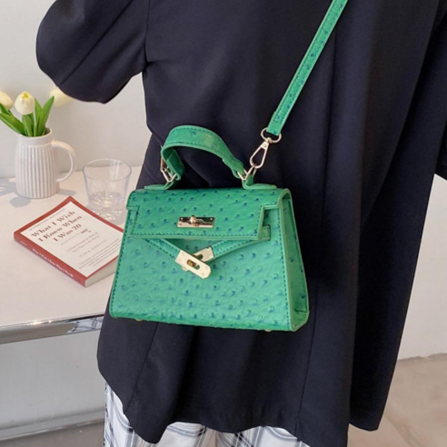 LW Casual Metal Accessories Decoration Green Crossbody Bag