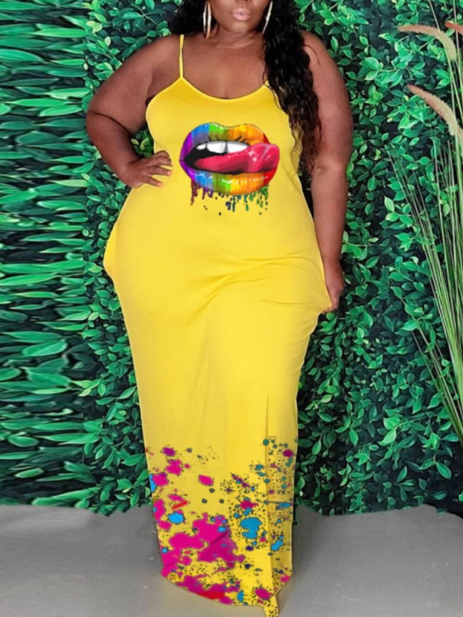Lovelywholesale coupon: LW BASICS Plus Size Casual Lip Print Yellow Floor Length Dress