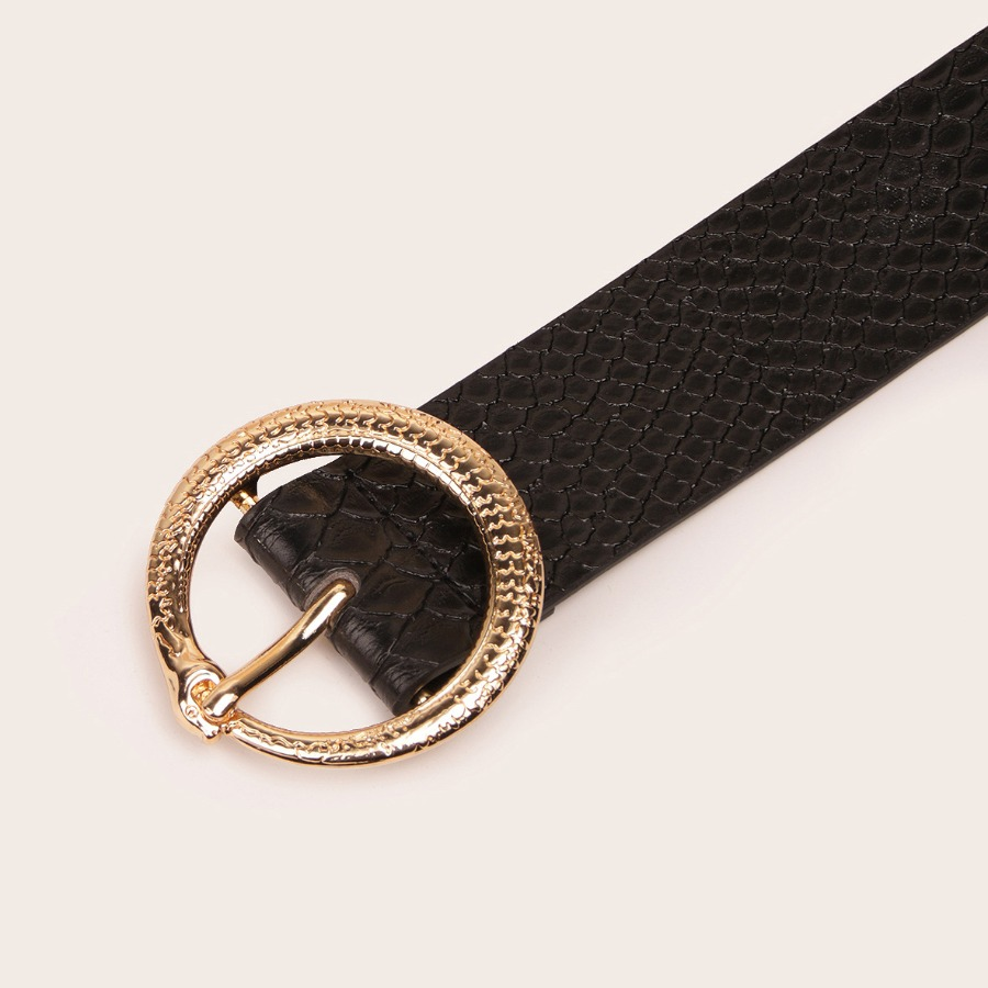 Lovely Casual Snakeskin Pattern Black Belt