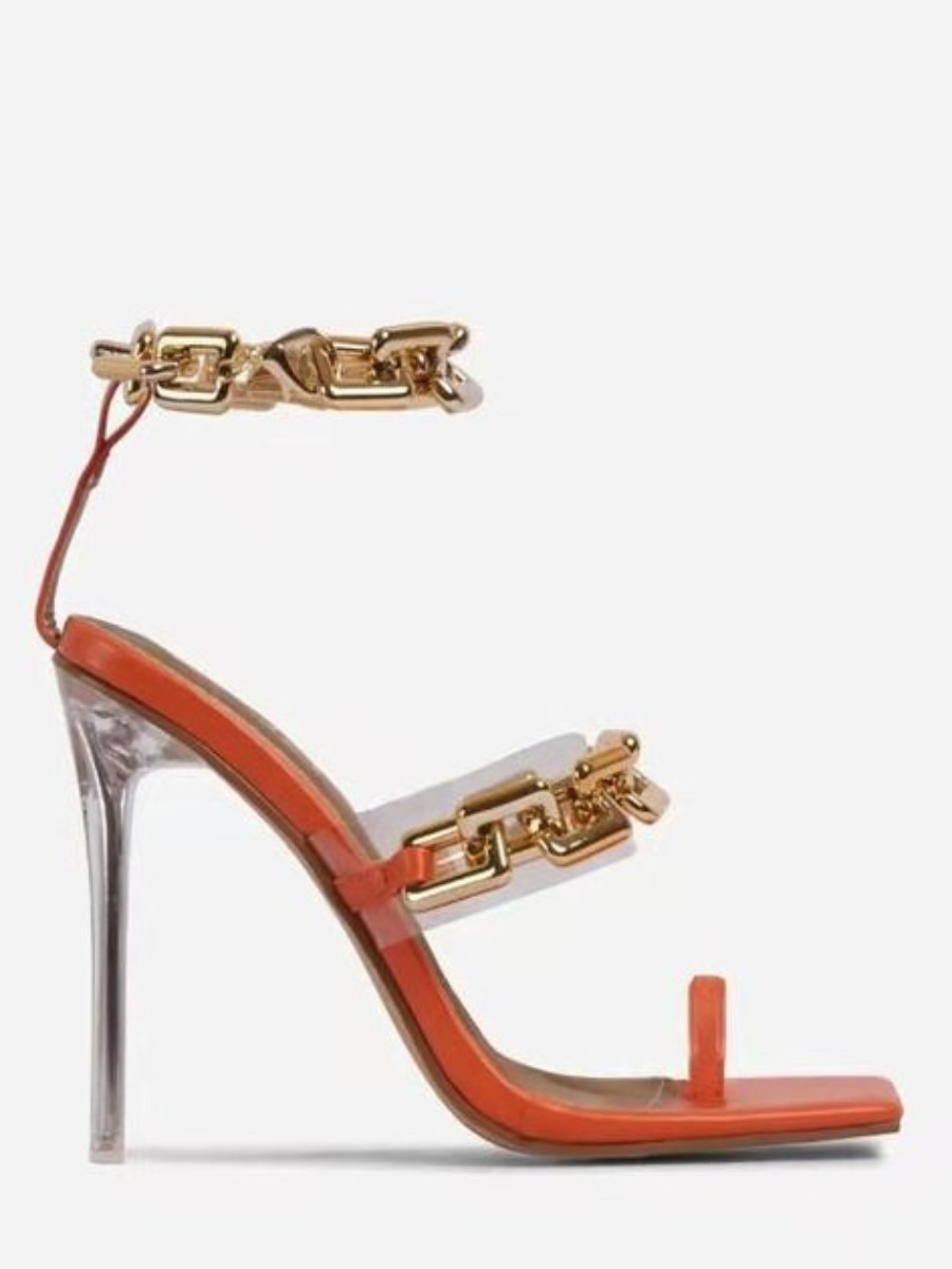 Lovely Sexy Chain Decoration Jacinth Pumps