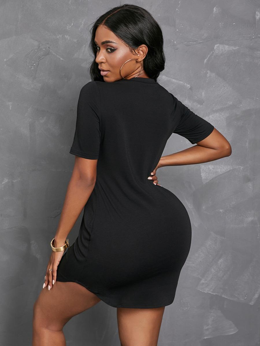 Lovely Casual Round Neck Letter Print Black Mini Dress