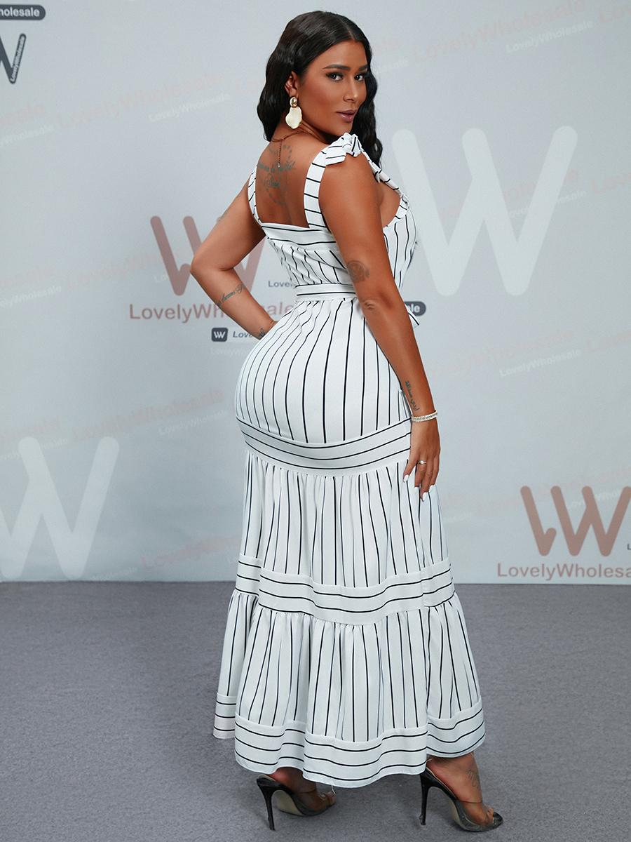 Lovely Casual Square Neck Striped White Floor Length Dress
