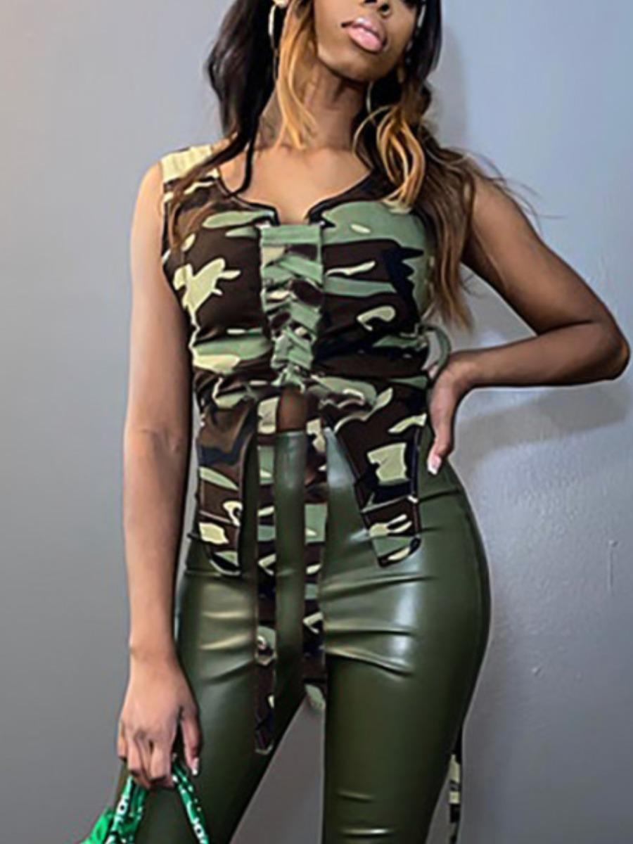 LW Street Camo Print Bandage Design Camisole