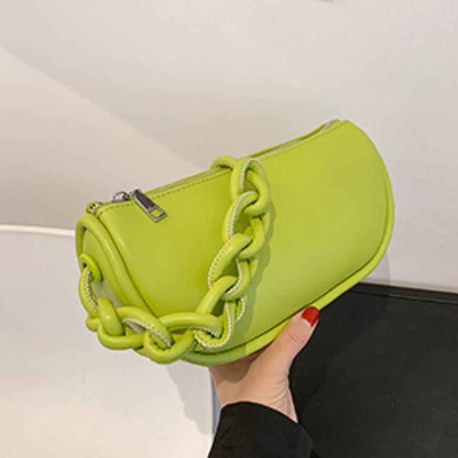 LW BASICS Casual Fold Design Green Shoulder Bag
