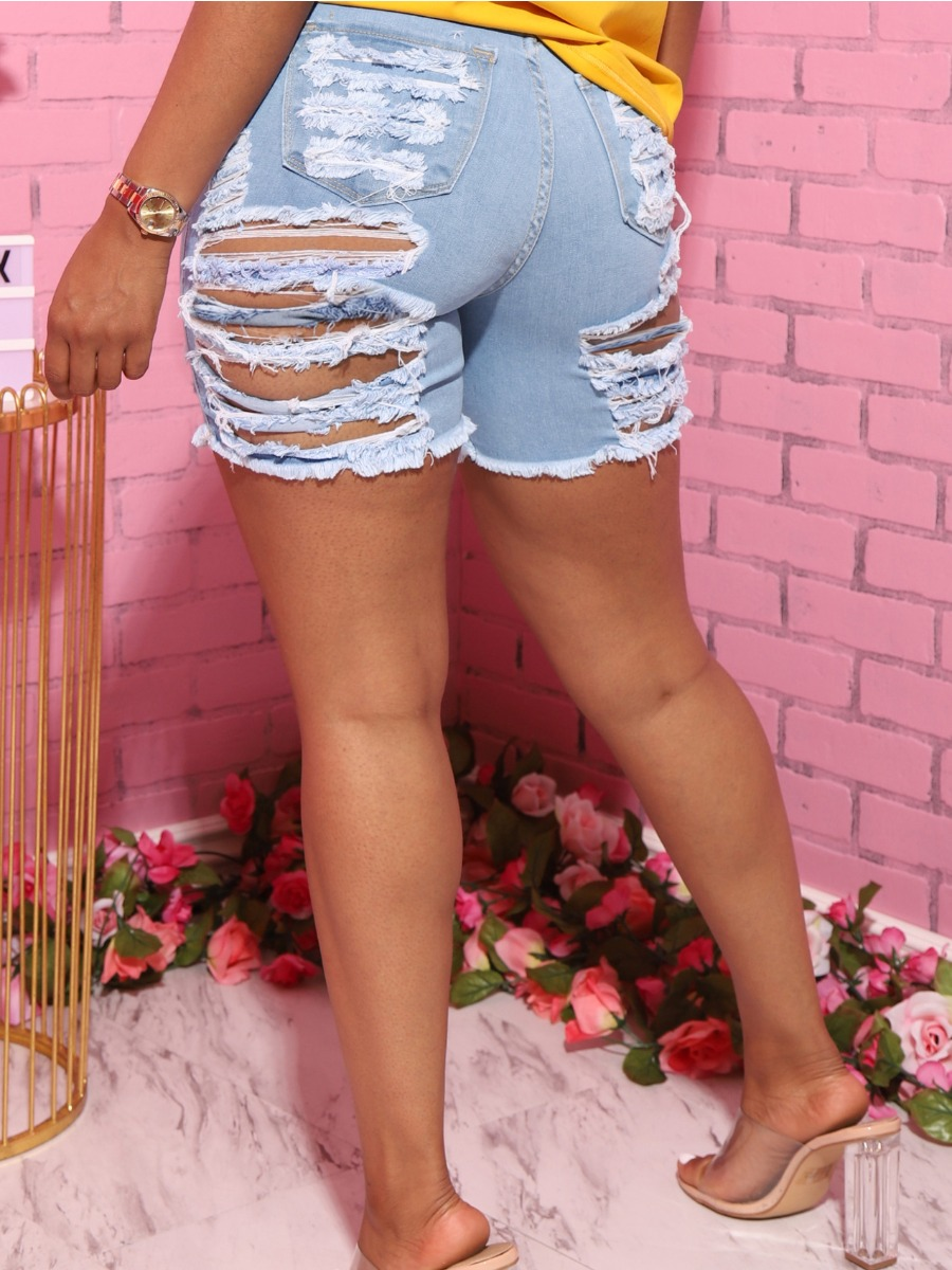 Lovely Street Butterfly Print Ripped Baby Blue Denim Shorts