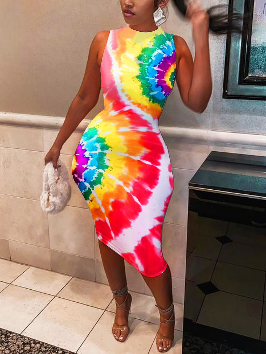 Lovely Casual Round Neck Tie-dye Multicolor Knee Length Dress