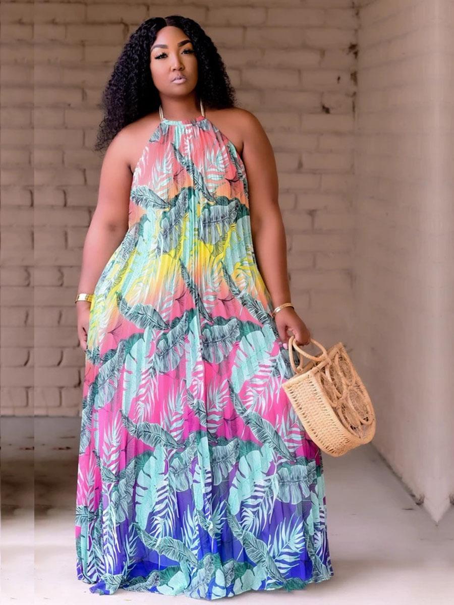 LW Plus Size Boho Floral Print Backless Floor Length Dress