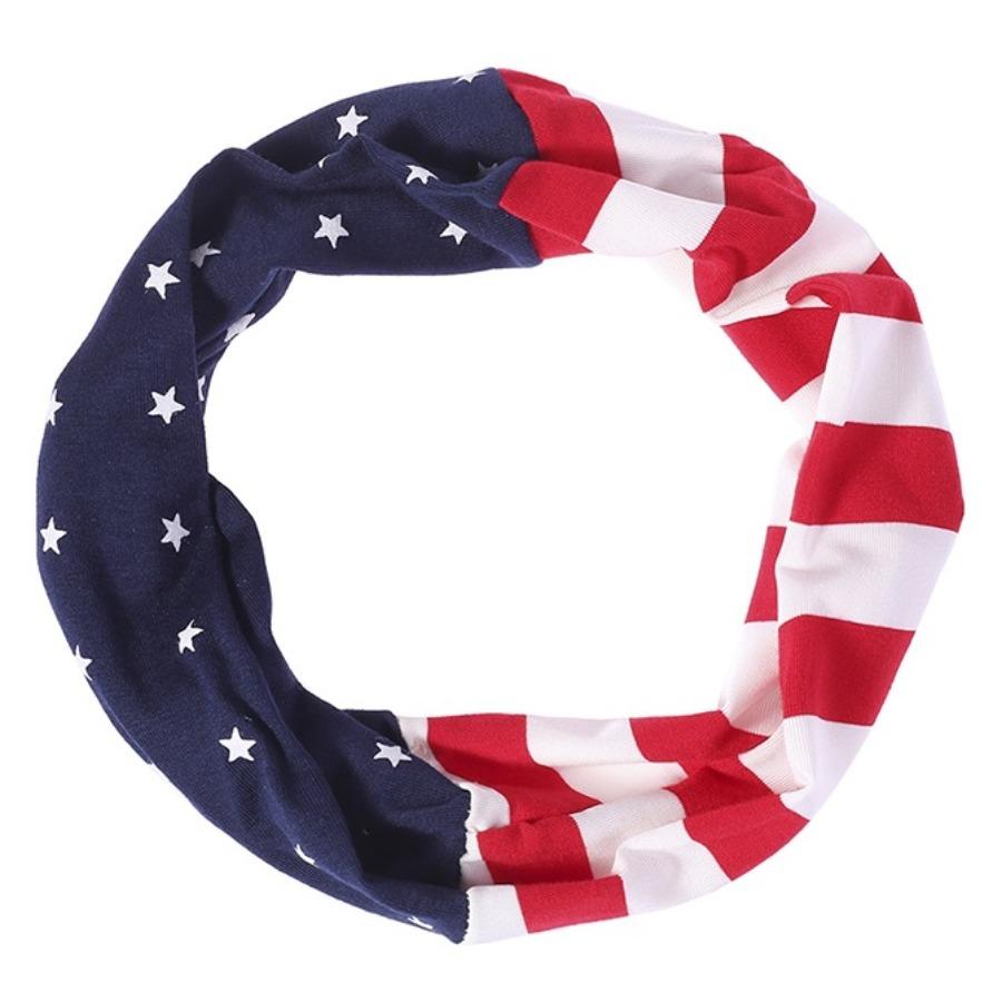 LW COTTON Sporty American Flag Print Multicolor Headband