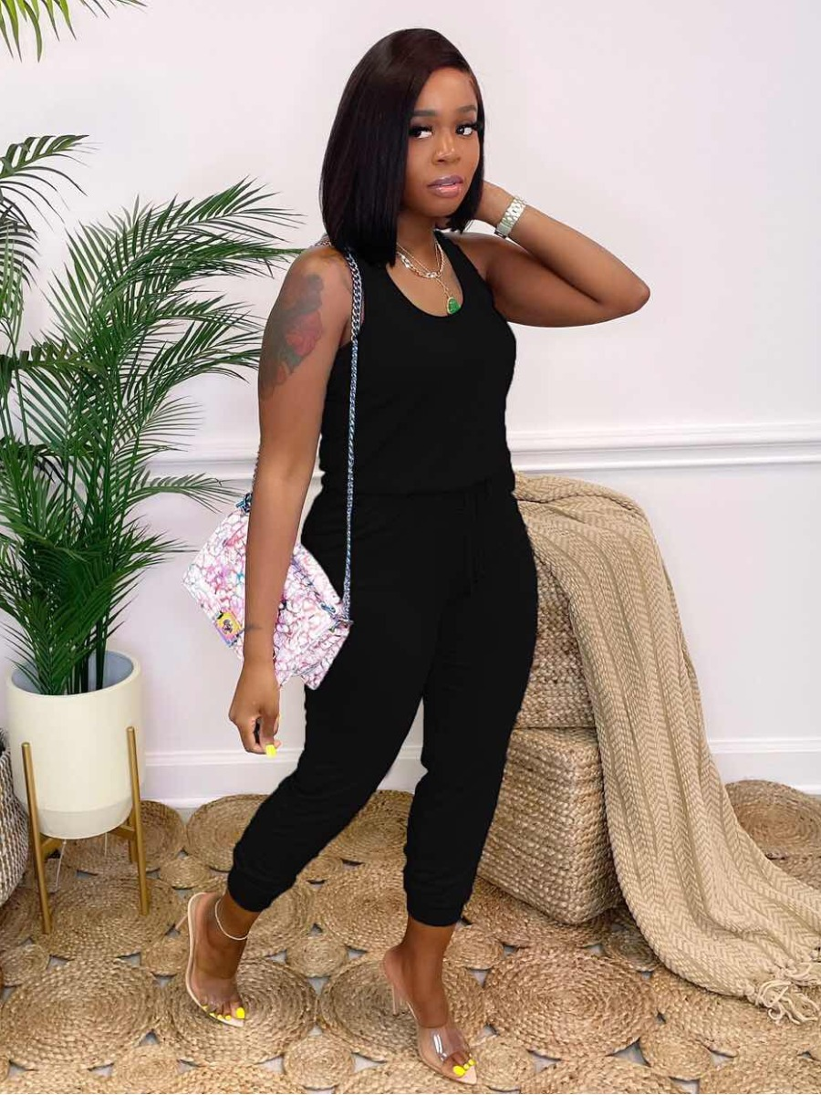 Lovely Casual U Neck Drawstring Black One-piece Jumpsuit