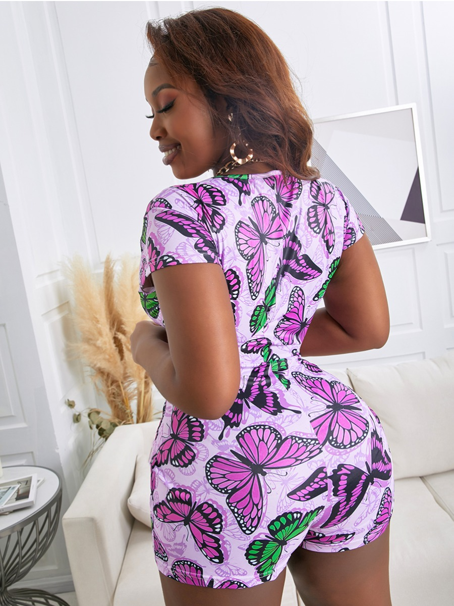 Lovely Plus Size Casual V Neck Butterfly Print Purple One-piece Romper