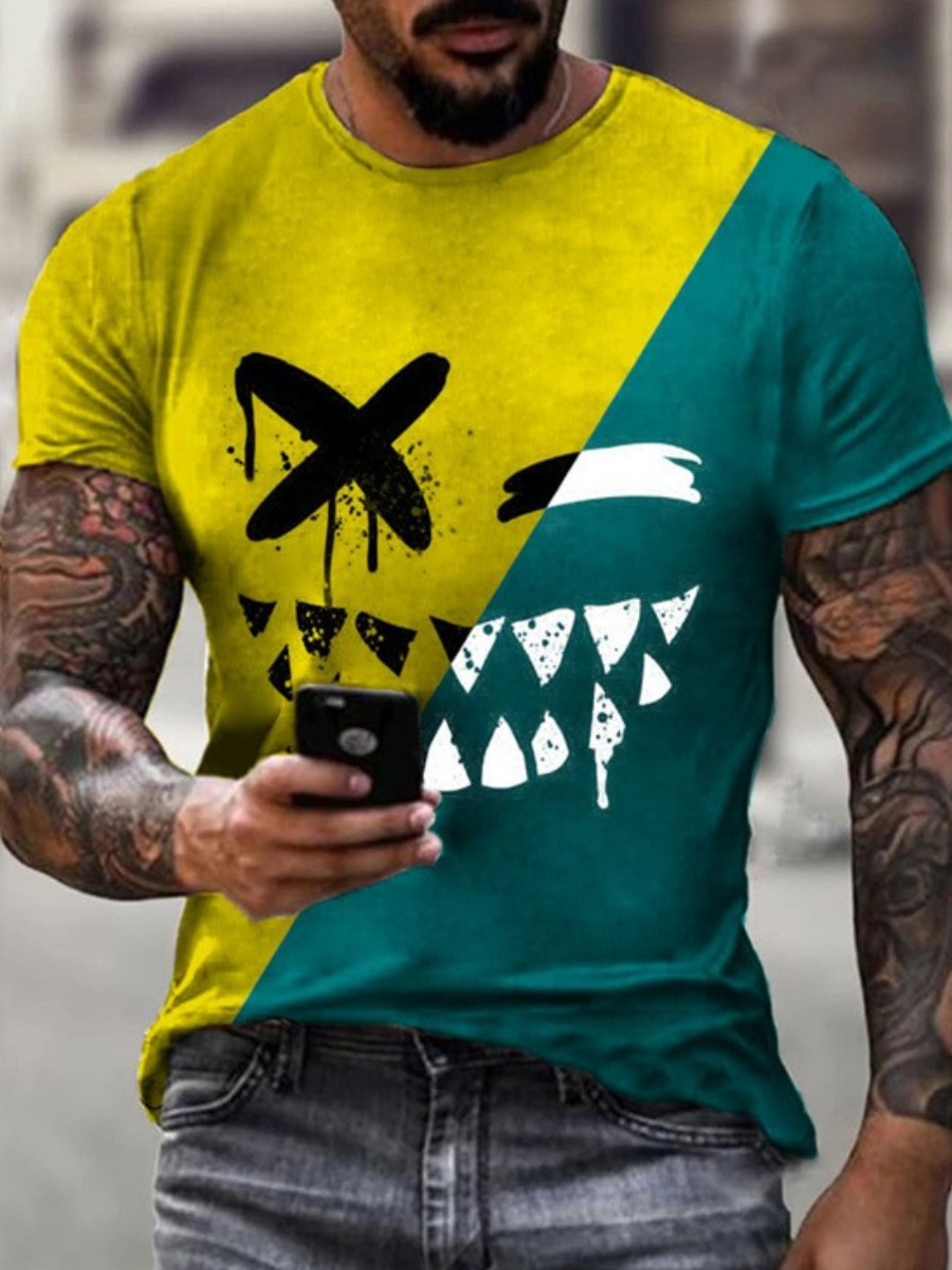 Lovelywholesale coupon: Lovely Men Street Color-lump Patchwork Yellow T-shirt