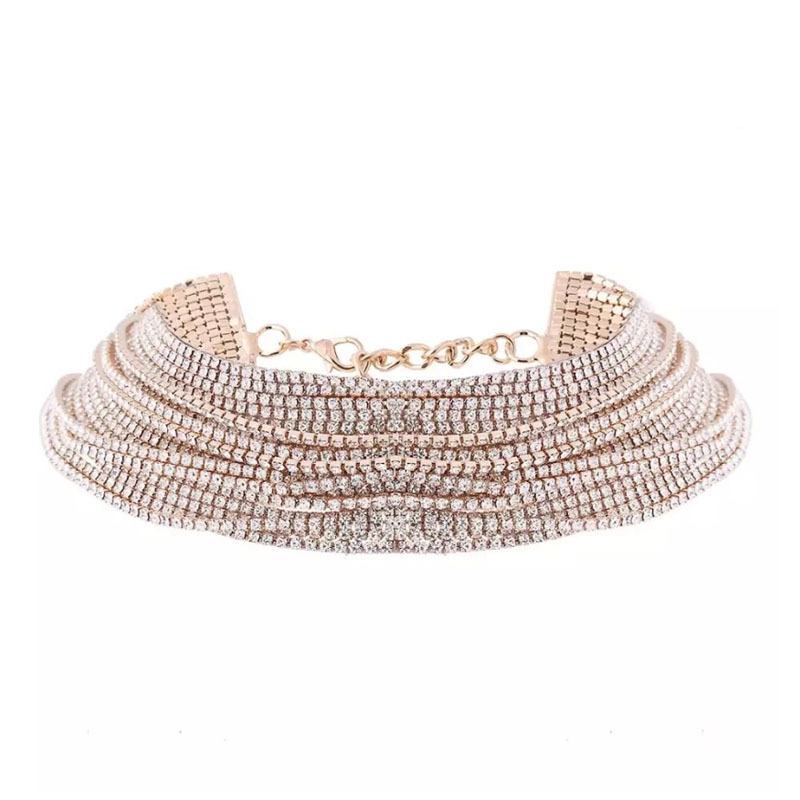 Lovely Sexy Sequined Gold Multilayer Necklace