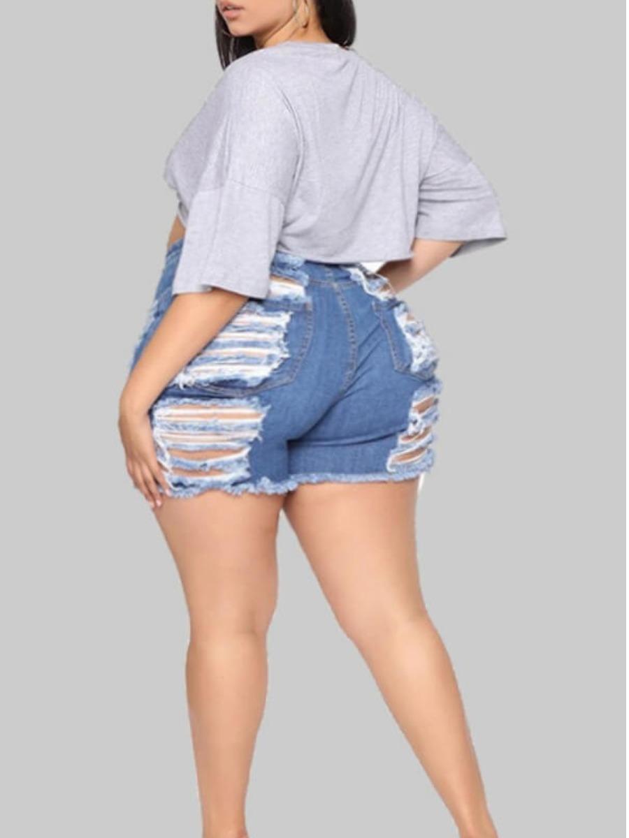 LW Plus Size Trendy Broken Holes Baby Blue Shorts