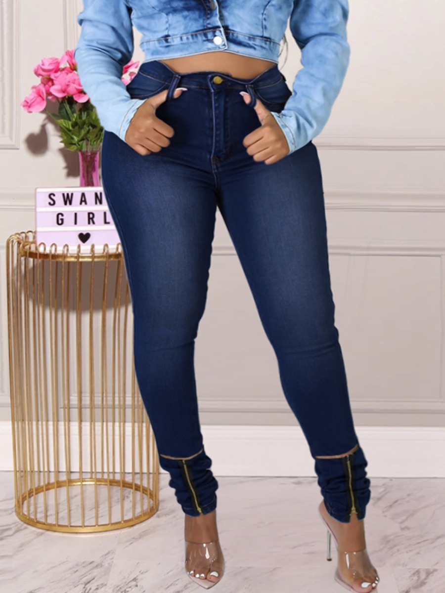 LW Plus Size Denim Street Solid Fold Skinny High-waisted Zipper Hasp Yes(Elastic) Solid Color Jeans